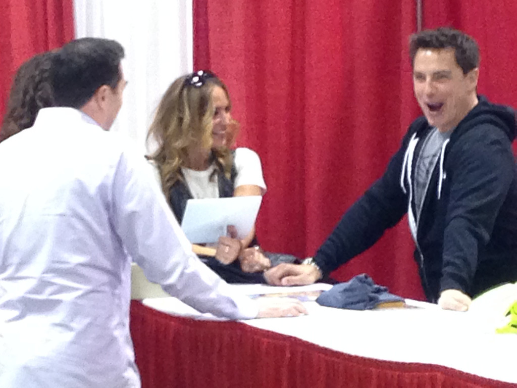 Description of . Drea DeMatteo and John Barrowman in images from Friday May 16 at the Motor City Comic Con in Novi, Michigan.