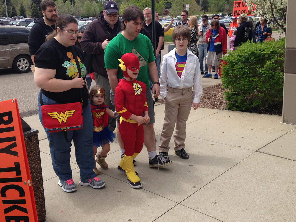 Description of . Parents are Mark and Jenny Swerbensky from Warren.with Xander, 11 (Superman), Aiden, 7 (Flash), Emily, 3, (Wonder Woman) Friday at Motor City Comic Con. Photo by David Komer