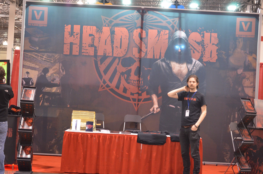 "Description of . Debuting in July will be the full length graphic novel for ""Headsmash."" A special preview comic of the first chapter of the graphic novel is available all weekend at the Motor City Comic Con in Novi. (Photo by Dave Herndon)"