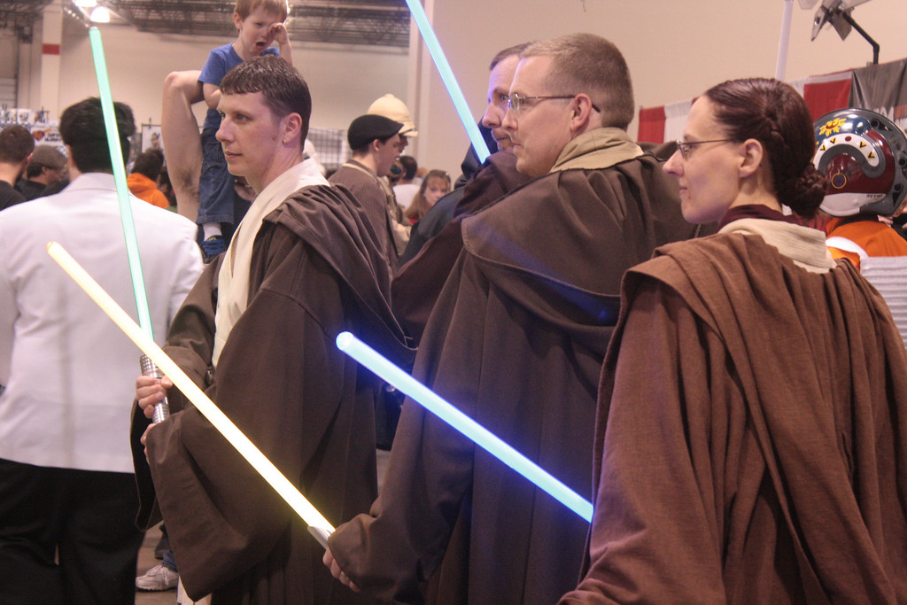 Description of . Jedi from the 501st pose for a photo at the Motor City Comic Con. (Photo by Erica McClain)