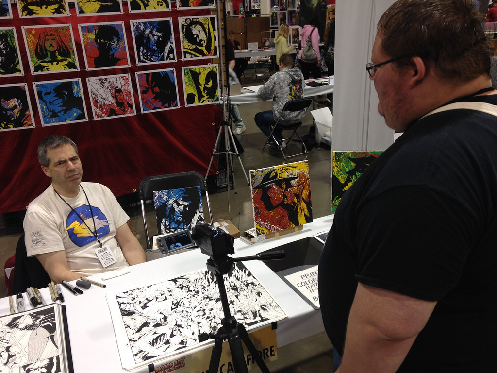 . Jim Calafiore at Motor City Comic Con interviewed by Dave Herndon. Friday May 16. Photo by David Komer